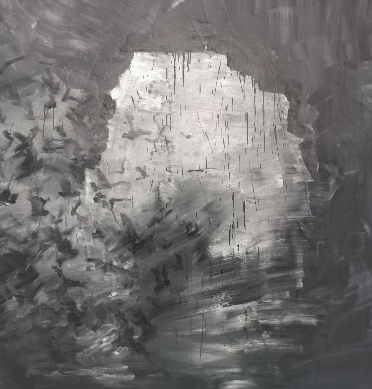 Yan Pei-Ming - Exode, 2020. Huile sur toile, Panneau 3 - détail 1