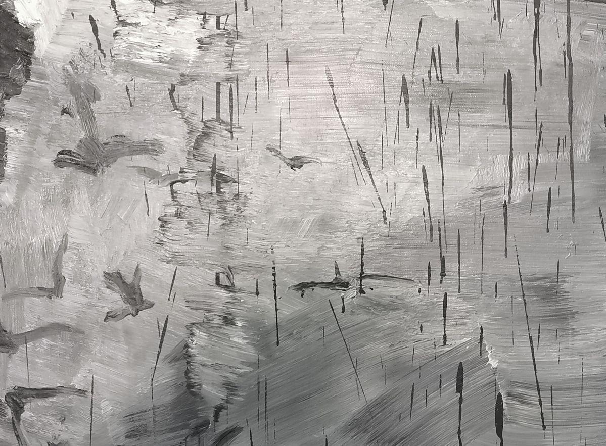 Yan Pei-Ming - Exode, 2020. Huile sur toile, Panneau 3 - détail 2