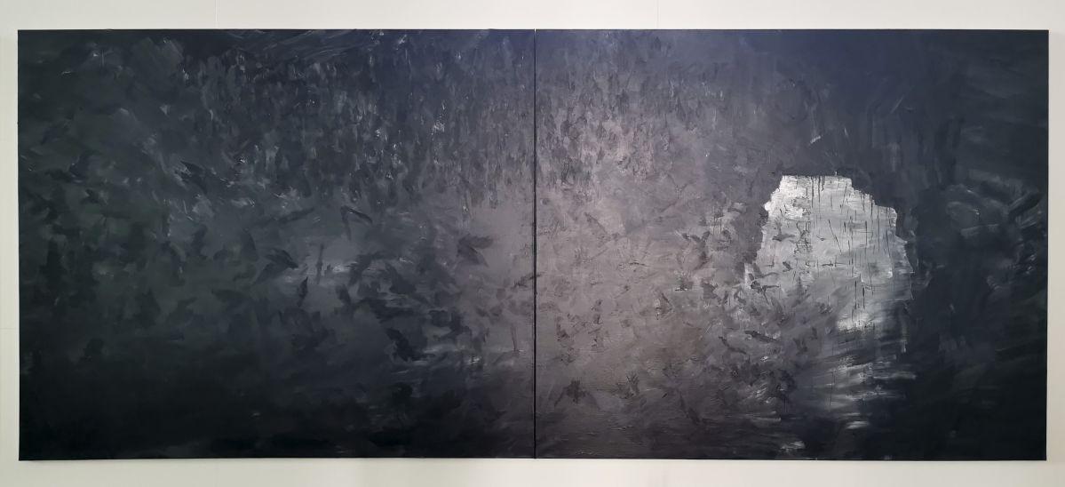 Yan Pei-Ming - Exode, 2020. Huile sur toile, Panneau 3