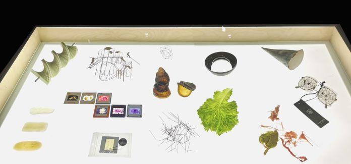 Suzanne Hetzel, Pièce d'attention-expositions (sélection), 2021. Fragments d'œuvres présentées à Vidéochroniques. 128 x 65 x 94 cm. Memories Still Green - Vidéochroniques