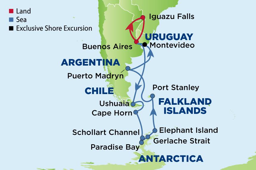 Journey to Antarctica, Iguazu Falls & Montevideo