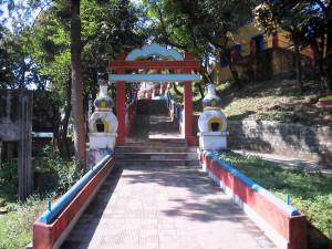viale di entrata al Tashijong Gompa