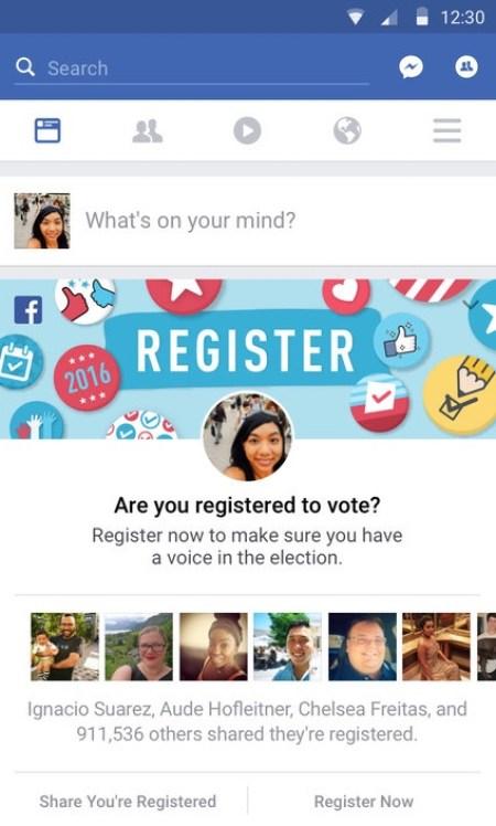 Voter registration campaign - Facebook