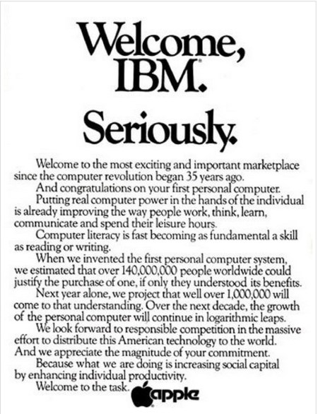Welcome IBM. Seriously. Apple