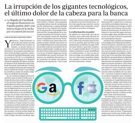 La irrupción de los gigantes tecnológicos, el último dolor de cabeza para la banca - ABC (pdf)