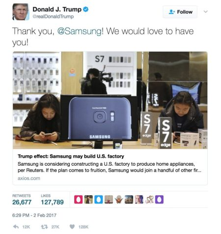 Trump's tweet on Samsung