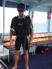 Juste avant ma première plongée près de l'île de Moso