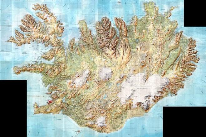 Carte Islande du relief