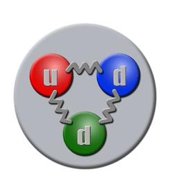 Los neutrones, según el Modelo Estándar, están formados por tres quarks: 2 quarks down y 1 quark up.