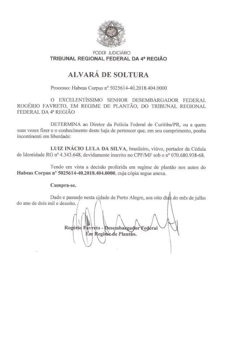 !!ULTIMA HORA!! Juez ordena la liberación de Lula da Silva