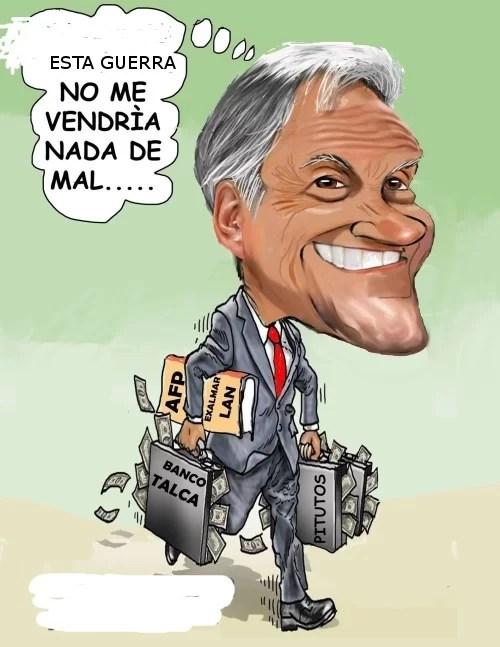 El imbécil de Piñera dice estar en GUERRA contra el PUEBLO... Cojan a su neoliberal, ...