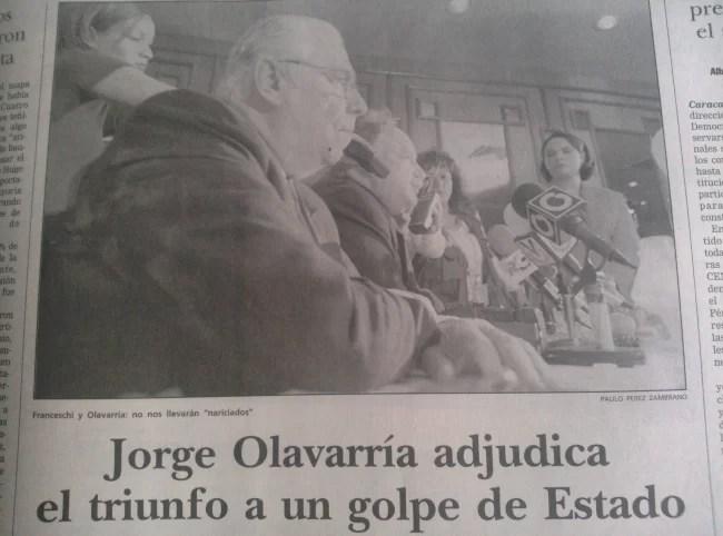 Cuando el genial JORGE OLAVARRÍA proclamó que el triunfo de Chávez constituía un GOLPE DE ESTADO. Qué genios tan arrechos teníamos en Venezuela...