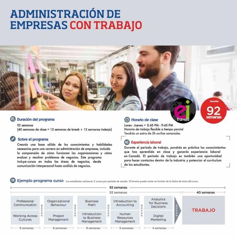 Administración de empresas con trabajo en Canadá
