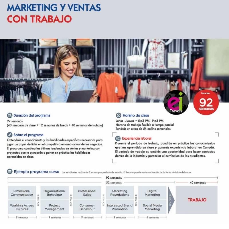 Marketing y Ventas con trabajo en Canadá