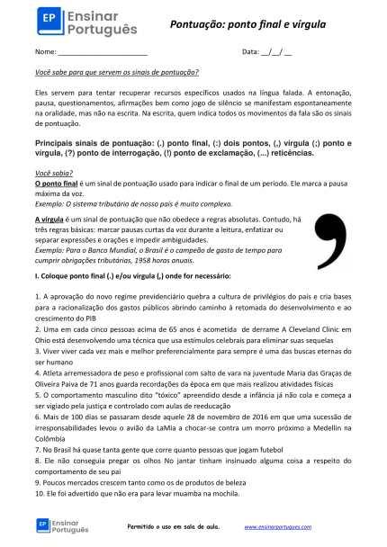 Folha de exercícios de português para estrangeiros focada em pontuação: uso de dois pontos, vírgula e ponto e vírgula. Com explicações e gabarito.