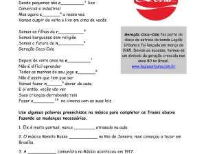 Atividade auditiva de português para estrangeiros de música brasileira, focada na prática do presente e pretérito perfeito.