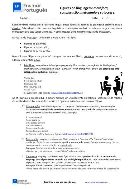 Folha de exercícios: Metáfora, comparação, metonímia e catacrese