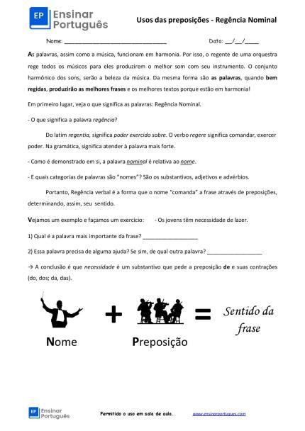 Folha de exercícios de preposições focada em regência nominal para aulas de português para estrangeiros. Traz uma breve explicação e gabarito.