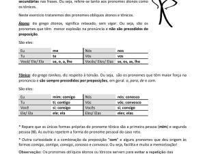 Folha de exercícios de pronomes oblíquos, tópico delicado para estudantes de português para estrangeiros, traz breve explicação e gabarito!