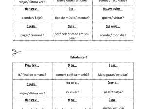 Parte de nosso acervo de atividades de português para estrangeiros, focada em pronomes interrogativos a ser feita como jogo linguístico ou dinâmica.