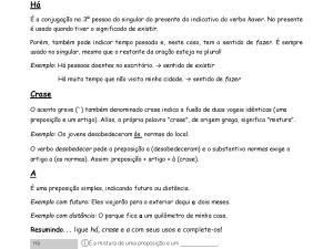 """Folha de dúvidas de português focada no uso e diferenças entre """"há"""", """"à"""" e """"a"""". Traz explicações, quatro exercícios e gabarito."""
