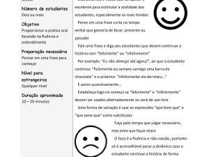 Atividade oral para aquecimento ou intervalo entre tópicos de aula de português para estrangeiros, ou língua de herança, para a prática de fluência.