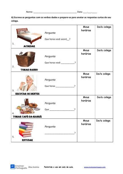 - Atividade oral de português para estrangeiros que usa o Presente do Indicativo para fazer perguntas sobre hábitos rotineiros