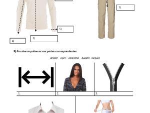 Atividade com tema de português para estrangeiros: ajustando roupas. Nela o estudante pratica vocabulário e sua contextualização.