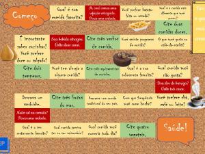 Jogo didático focado em vocabulário sobre comida e bebida para aulas de português para estrangeiros em formato de tabuleiro.