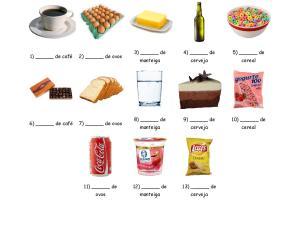 Folha de exercícios com vocabulário sobre recipientes e quantidades de comida e bebida para aulas de português para estrangeiros.