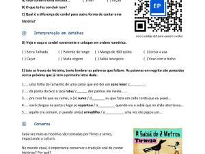 Atividade de vídeo para aula de português para estrangeiros com um Cordel para interpretação e prática de vocabulário.