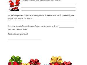 Atividade escrita de Natal para crianças em aulas de português para estrangeiros e língua de herança e níveis A1, A2 de proficiência