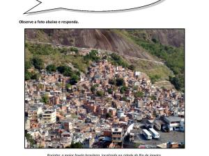 Atividade de português para estrangeiros e língua de herança sobre a história da favela brasileira com interpretação para níveis B2 e C1.