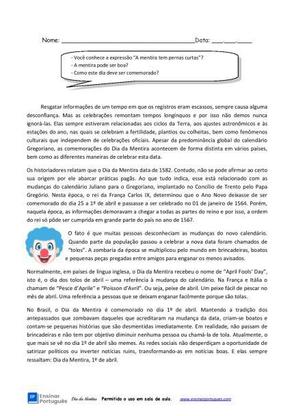 - Atividade com a história do Dia da Mentira cobrando interpretação, vocabulário e produção escrita para estudantes B2 e C1.