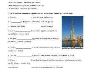 - Atividade com explicações e exercícios comparativos e superlativos para suas aulas de português para estrangeiros, já com gabarito!