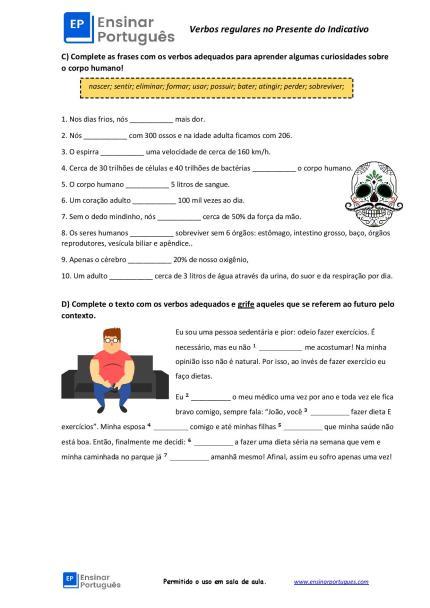 Folha de exercícios sobre Verbos regulares no Presente do Indicativo
