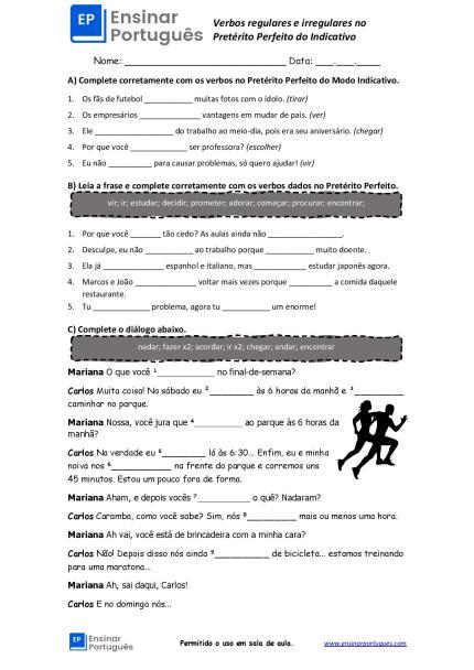 Folha de exercícios no Pretérito Perfeito do Indicativo com verbos regulares e irregulares em pdf preenchível e com gabarito!