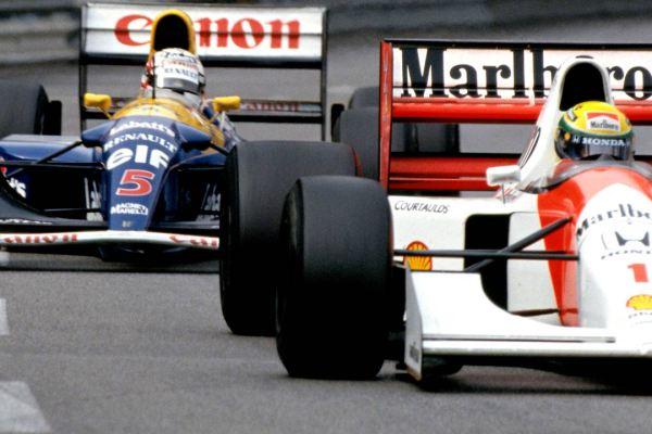 Senna and Mansell battling at Monaco