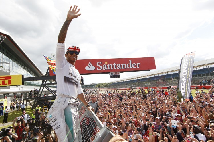 Lewis Hamilton with the British Grand Prix crowd