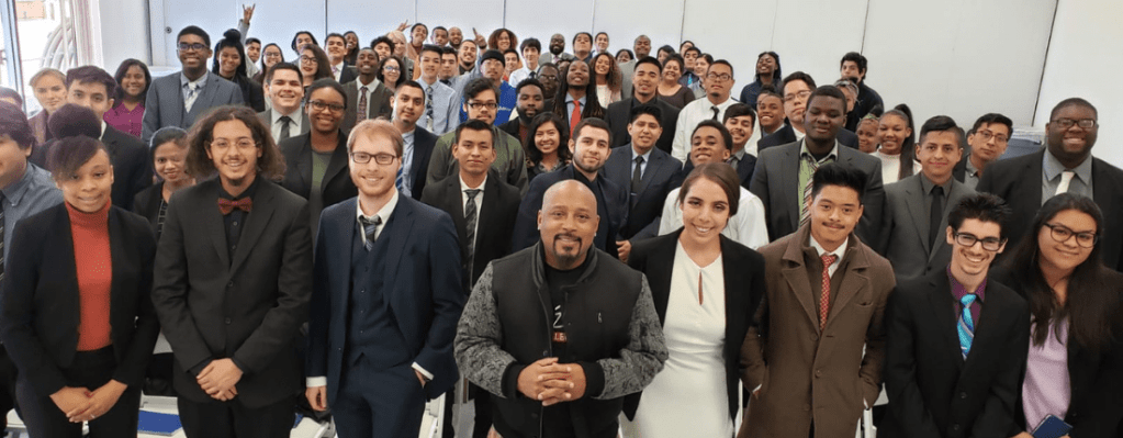 Daymond John and students at Year Up LA
