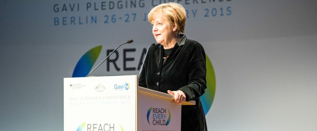 German federal chancellor Angela Merkel addressing what Germany pledged at GAVI's Conference.