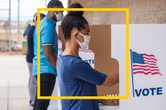 Picture of masked voters voting in the 2020 election. This relates to Entertain Impact's social impact campaign, Sooner Is Better, to encouraged marginalized voters to turn out.
