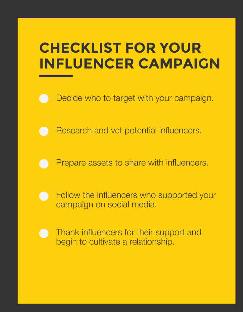 This image is a checklist you can use to get started on your next influencer marketing campaign. The checklist reads: Decide who to target with your campaign. Research and vet potential influencers. Prepare assets to share with influencers. Follow the influencers who supported your campaign on social media. Thank influencers for their support and being to cultivate a relationship.