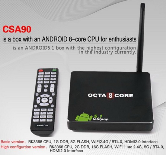 CSA90 TV Box Android Lollipop 5.1.1 custom firmware Download