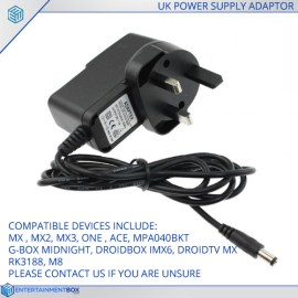 Replacement UK Power supply Adapter plug PSU G-Box MX2 M8 MXQ MX3 RK3188 Android XBMC TV Box
