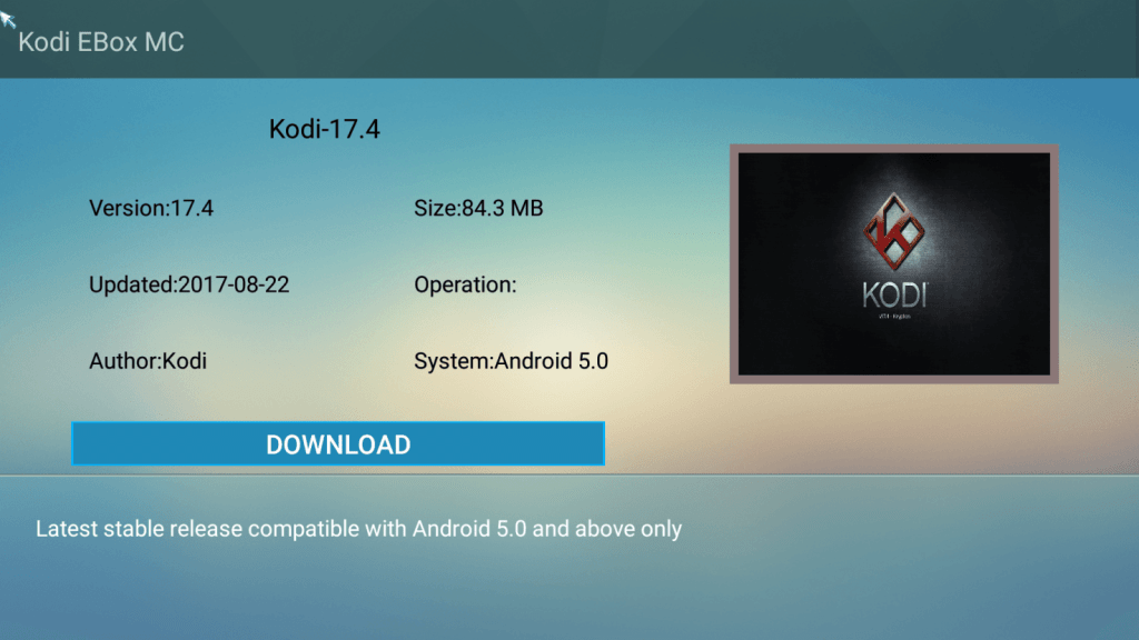 Step 2 Click on Kodi 17.5