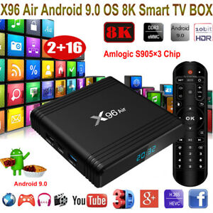 8K X96 Air Android 9.0 2+16G Quad Core Smart TV BOX WIFI Amlogic 3D Media Player