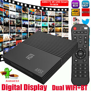 A95X F2 4+64G Android 9.0 Pie 4K UHD Smart TV BOX Quad Core Dual WIFI BT Amlogic