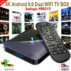 A95X F3 8K Android 9.0 OS 2+16G TV BOX Dual WIFI BT 3D Amlogic S905×3 Cortex-A55