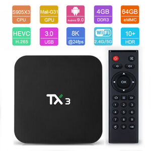 TX3-H Smart TV Box Android 9.0 Amlogic S905X3 Quad Core 4GB 64GB WiFi, i8